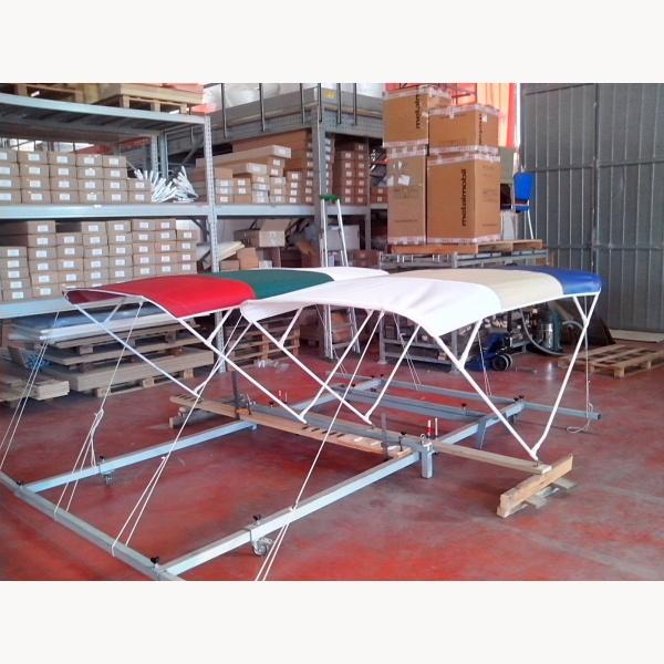 bimini sonnendach speziell f r elektroboote schmal lang 4 b gen alu rohre 20 mm weis. Black Bedroom Furniture Sets. Home Design Ideas